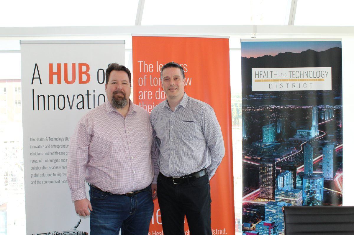 Larry Gifford and Dr. Ryan D'Arcy, at The Health and Technology District, which is located across the street from Surrey Memorial Hospital.