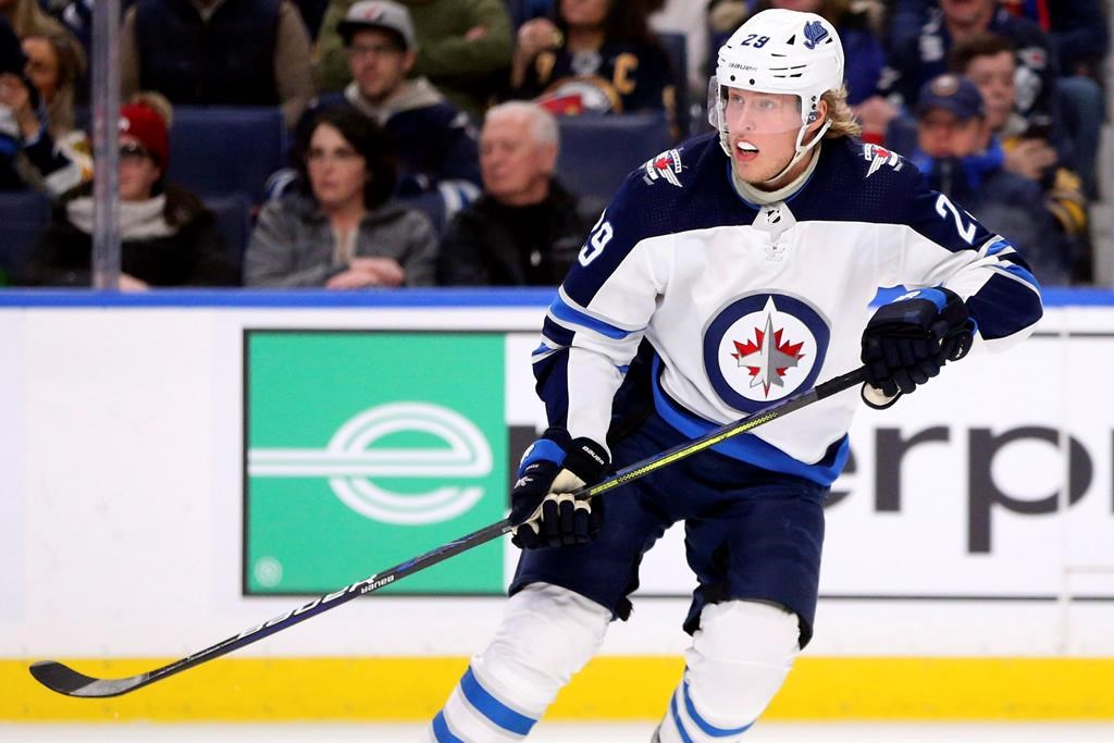 Winnipeg Jets forward Patrik Laine (29) skates during the second period of an NHL hockey game against the Buffalo Sabres, Sunday, Feb. 23, 2020, in Buffalo, N.Y.
