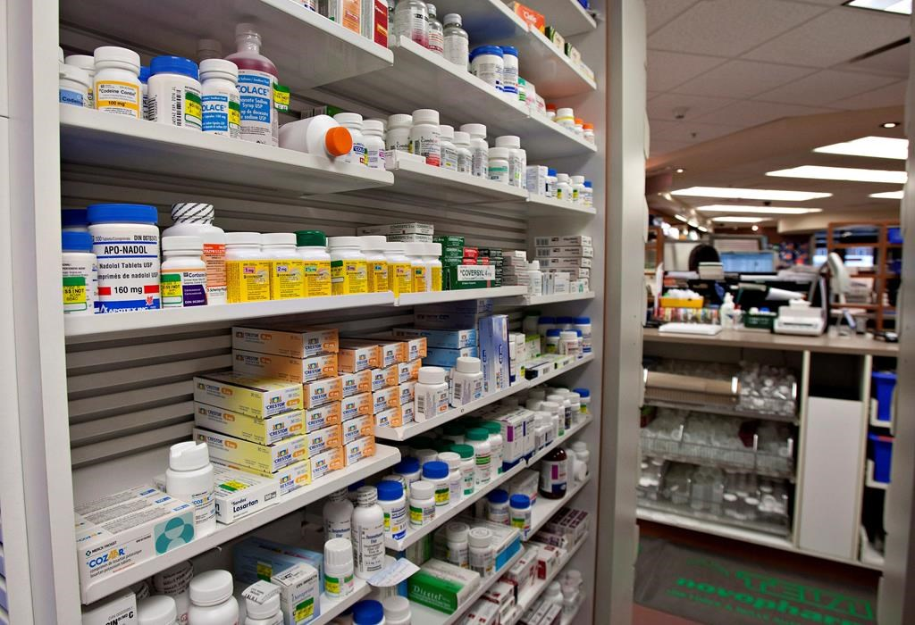File: A shelf of drugs at a pharmacy Thursday, March 8, 2012 in Quebec City.