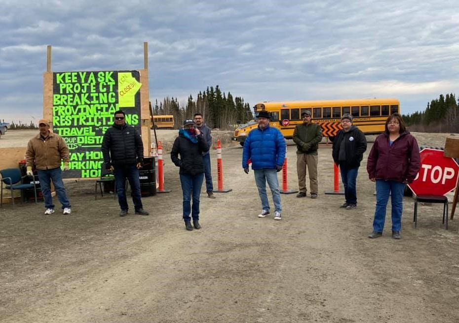 Members of Manitoba First Nations, shown here in this recent handout image, worried about the spread of COVID-19 have been served an injunction ordering the group to remove a blockade into the Keeyask Generating construction site in Split Lake, Manitoba.