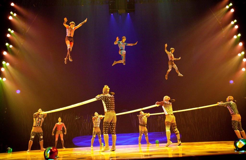 """Members of Le Cirque du Soleil perform in a preview of Totem on Thursday, April 8, 2010 in Montreal. Quebecor Inc. says it wants to """"rescue"""" Cirque du Soleil by purchasing a controlling stake in the struggling company and bringing its ownership back home to Quebec."""