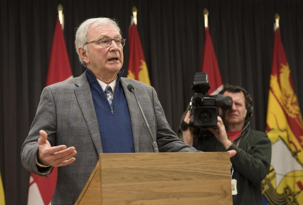 New Brunswick Premier Blaine Higgs speaks with the media in Fredericton, New Brunswick on Monday Feb. 17, 2020.