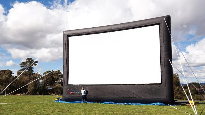 Chuck Varabioff says the screen he purchased for the outdoor theatre is meant for 7000 viewers.