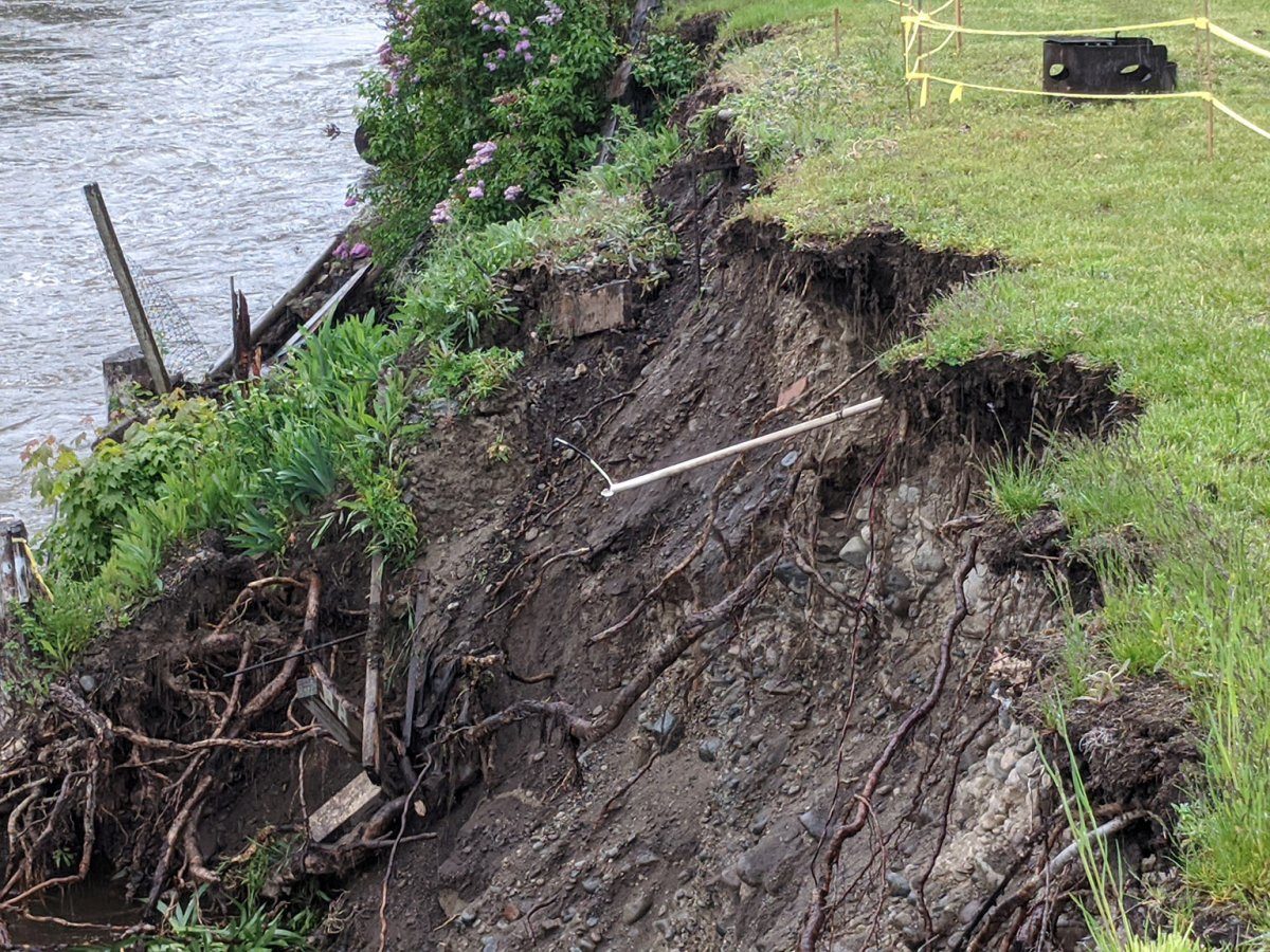 Erosion is a major hazard during freshet, and the regional district wants residents to stay well away from riverbanks and the edges of creeks. Two evacuation alerts were issued in the Grand Forks area on May 27 due to bank erosion.