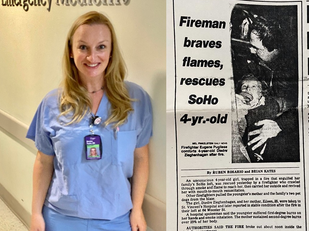 A nurse working in New York reunited with the firefighter who saved her life 36 years ago.