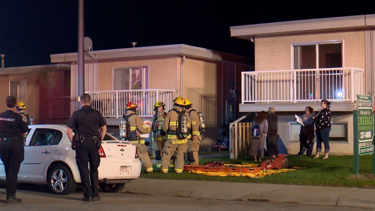 Calgary firefighters respond to a fire in the 800 block of McNeill Road Northeast on Wednesday, May 20, 2020.