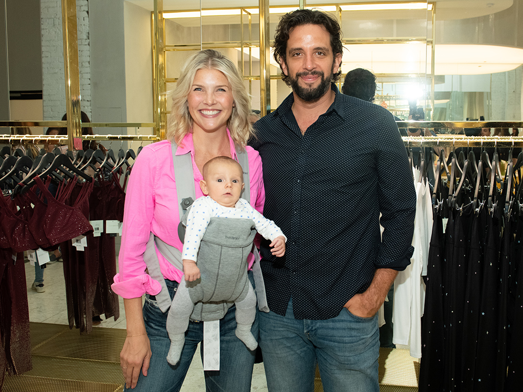 (L-R) Amanda Kloots and Nick Cordero attend the Beyond Yoga x Amanda Kloots Collaboration Launch Event on August 27, 2019 in New York City with their son Elvis.