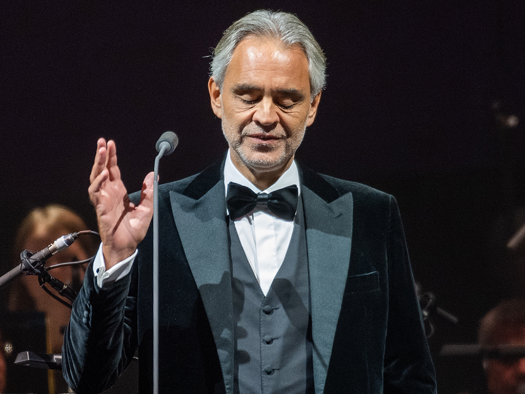 Andrea Bocelli performs on stage at The SSE Hydro on Oct. 20, 2019 in Glasgow, Scotland.