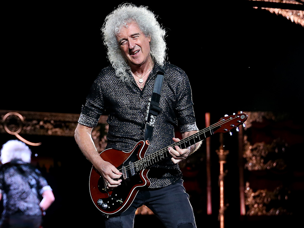Brian May of Queen performs at ANZ Stadium on Feb. 15, 2020 in Sydney, Australia.