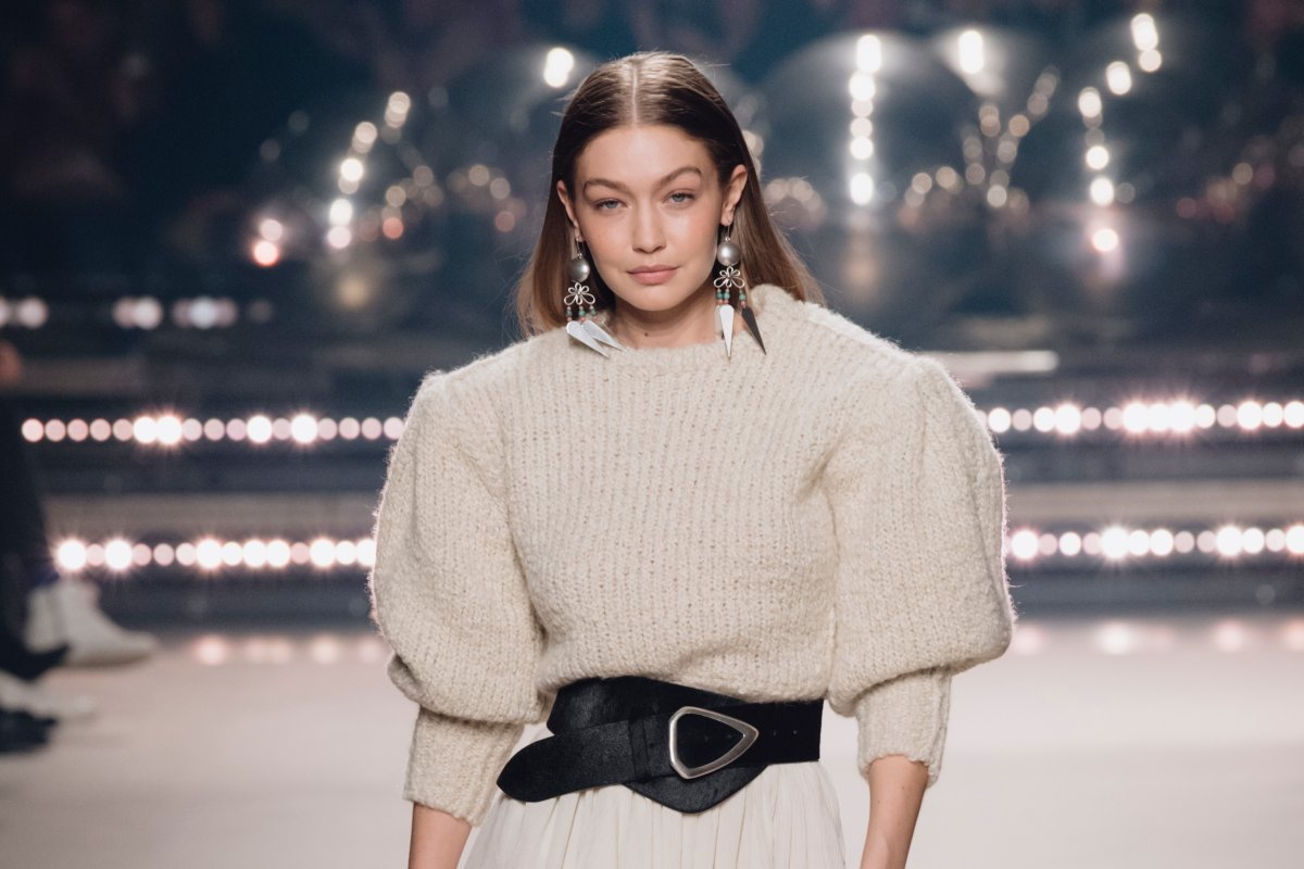 Gigi Hadid walks the runway during the Isabel Marant show as part of Paris Fashion Week Womenswear Fall/Winter 2020/2021 on February 27, 2020 in Paris, France. (Photo by Kristy Sparow/Getty Images).