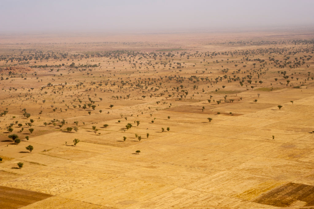 Aerial view of the dry sub-Saharan landscapes with fields near Mopti in Mali, West Africa.