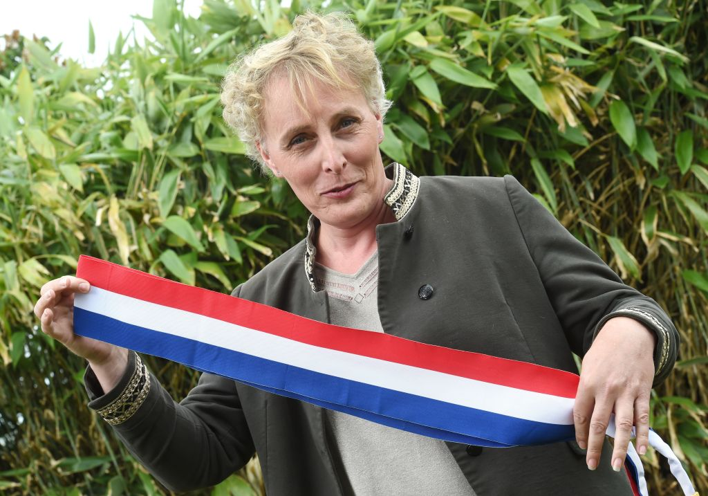 Marie Cau, first transgender woman elected as mayor in France, poses on May 24, 2020 in Tilloy-lez-Marchiennes, one day after being elected by the city council.
