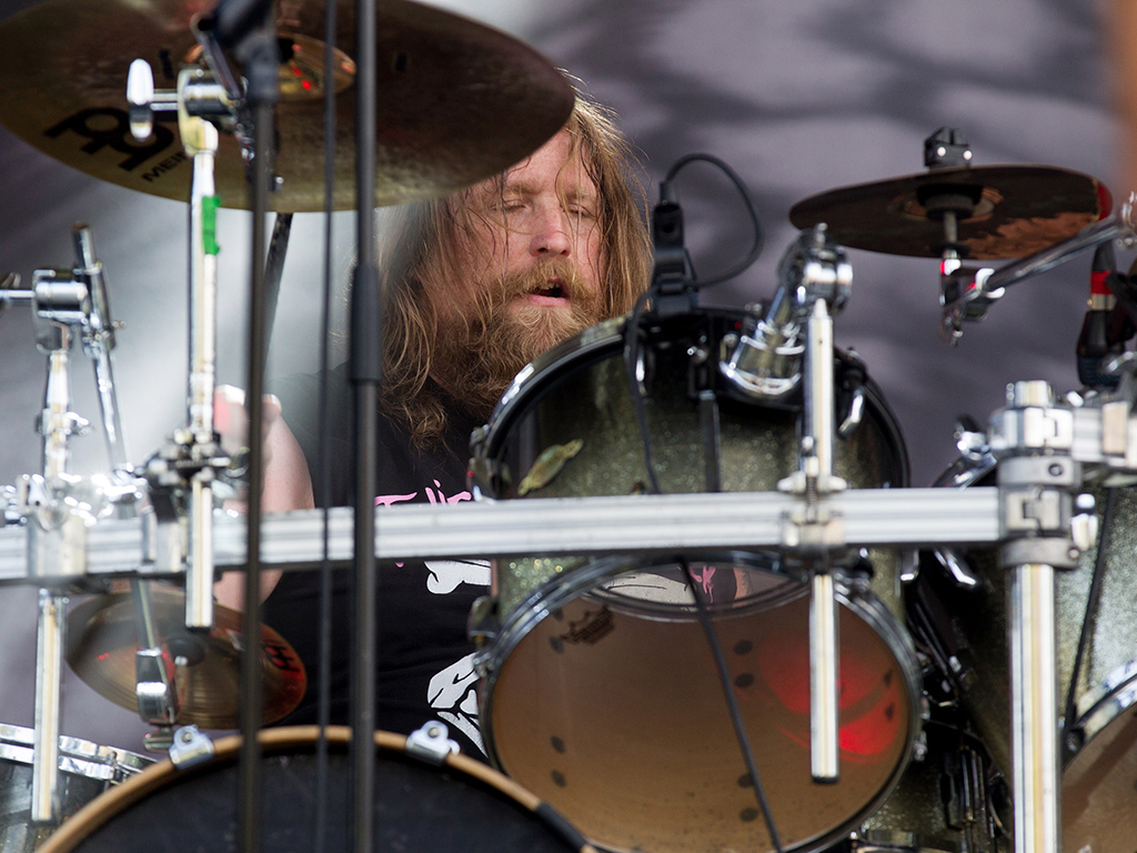 Drummer Will Carroll  of Death Angel performs at Aftershock Festival at Discovery Park on Oct. 22, 2016 in Sacramento, Calif.
