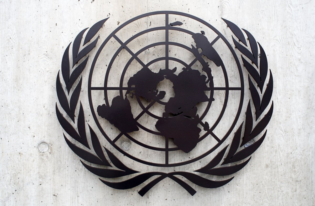 GENEVA - JUNE 08:  The United Nations emblem iss seen in front of the United Nations Office (UNOG) on June 8, 2008 in Geneva, Switzerland. (Photo by Johannes Simon/Getty Images).