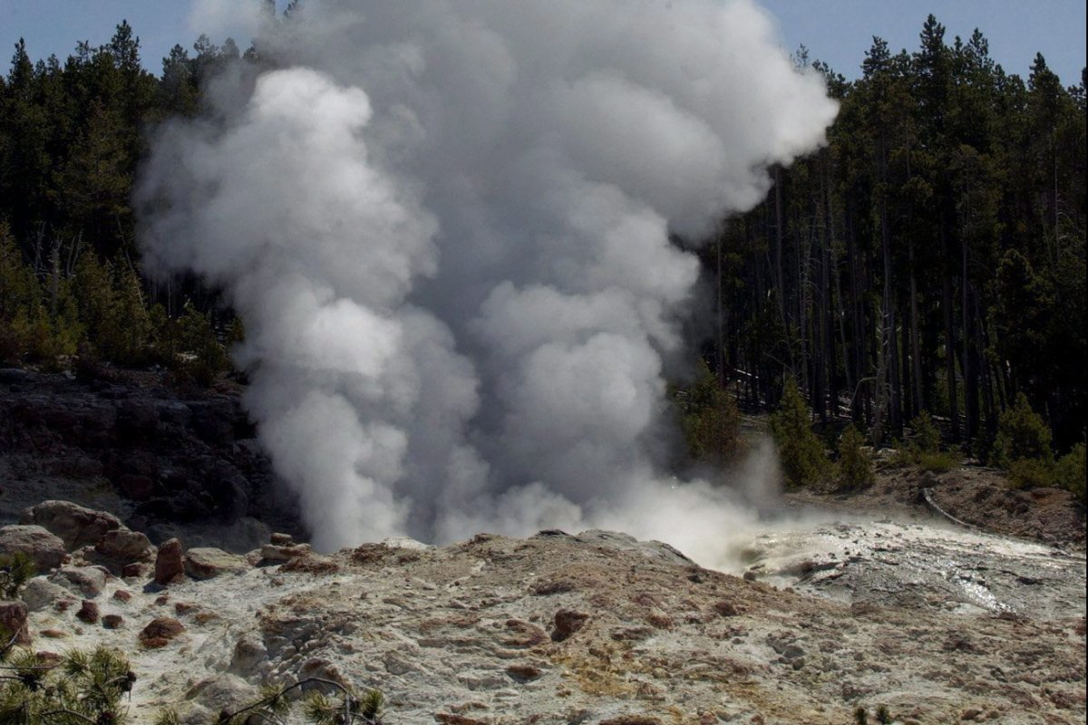 In this June 7, 2003 file photo, Steamboat Geyser in Yellowstone National Park, Wyo., is seen erupting.