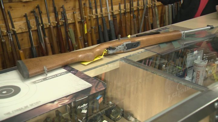 A Ruger Mini-14 semi-automatic rifle is seen at T'nT Gun Works in Regina.