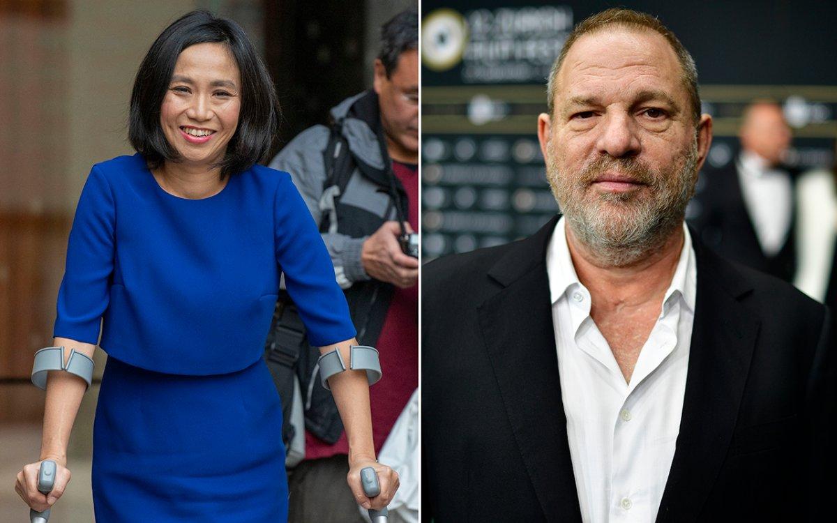 (L-R): Rowena Chiu, former assistant to Harvey Weinstein, and Weinstein.