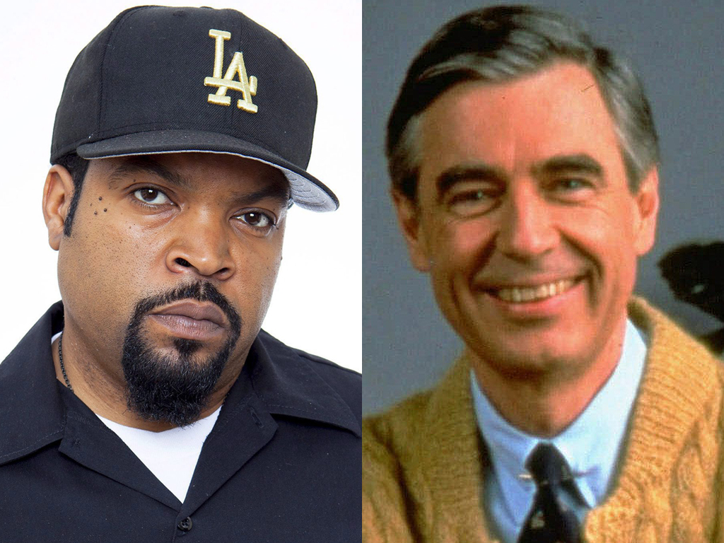 (L-R) Ice Cube and Fred Rogers, or 'Mr. Rogers' Neighborhood.'.