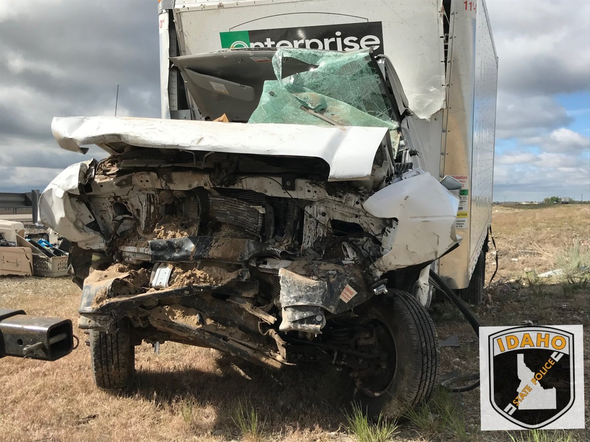 Idaho State Police investigate a crash on Interstate 15 at mile marker 105, west of Shelley, Friday, May 15, 2020.