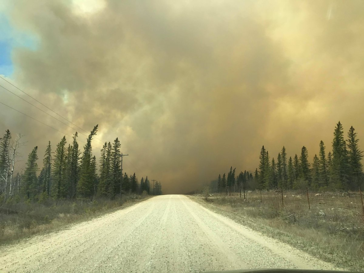 Smoke in the air from a fire north of Dauphin, Manitoba.