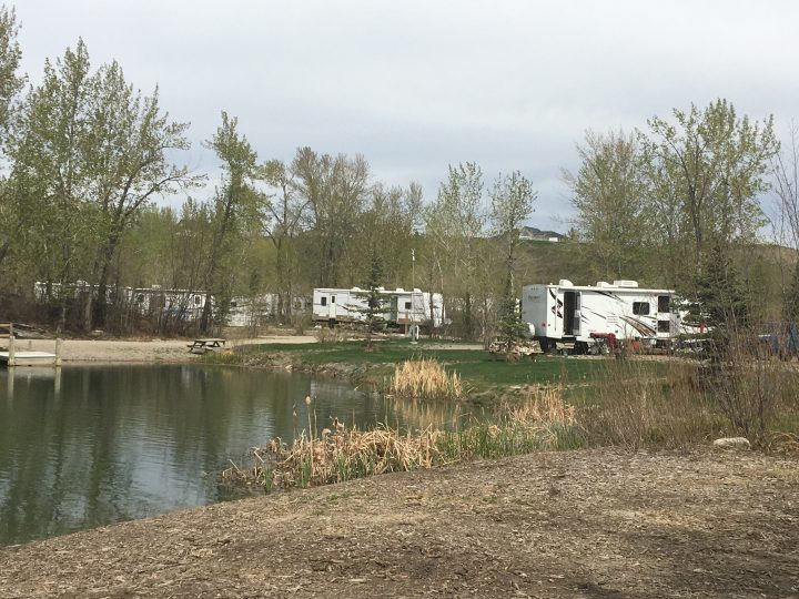 Campers at Riverbend Campground near Okotoks on May 18, 2020.