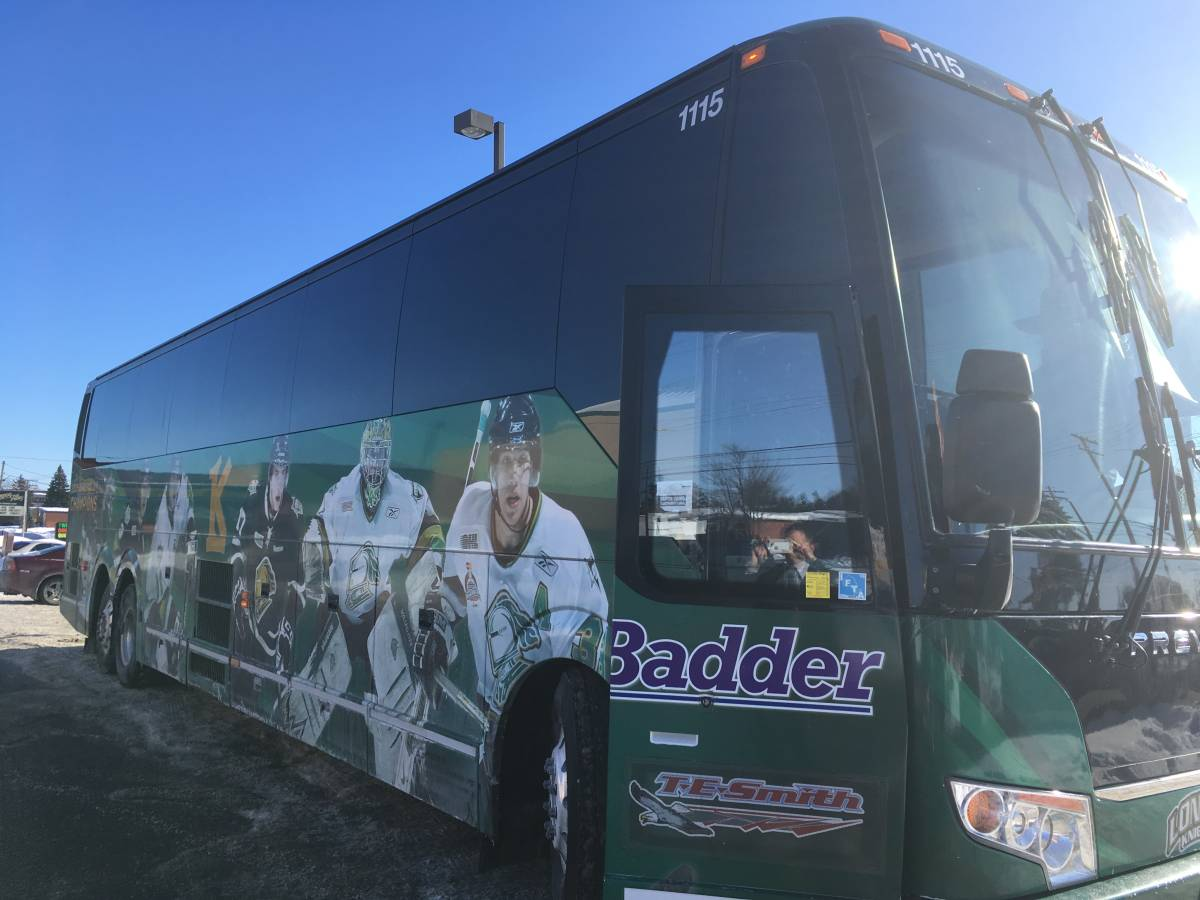 The London Knights team bus soaking in some sunshine on a road trip in 2019.