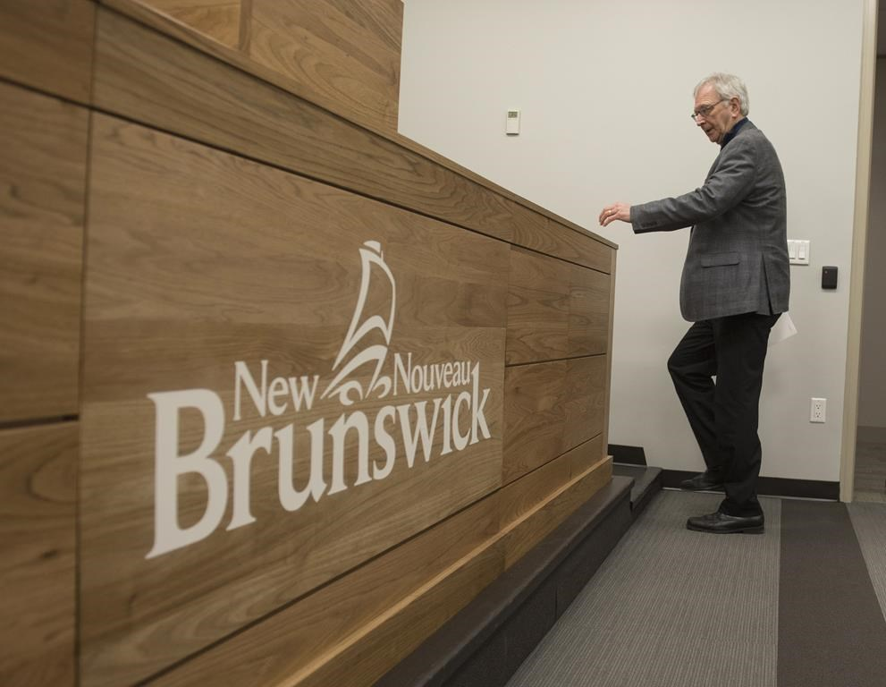 New Brunswick Premier Blaine Higgs speaks with the media in Fredericton on February 17, 2020.