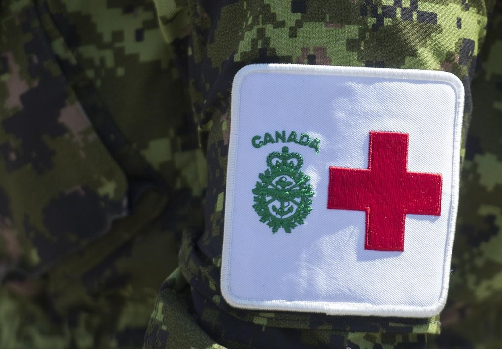 A patch is seen on a member of the Canadian Armed Forces. CAF personnel continue to assist the community of Pauingassi First Nation - which has reported seven probable cases of the B.1.1.7 COVID-19 variant.
