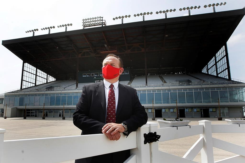 Darren Dunn, chief executive officer, is photographed at the track at Assiniboia Downs in Winnipeg Monday, May 25, 2020.