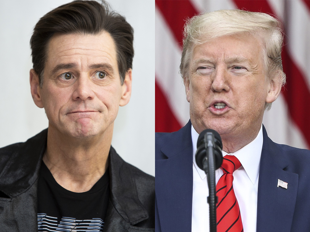 (L-R) Jim Carrey and U.S. President Donald Trump.