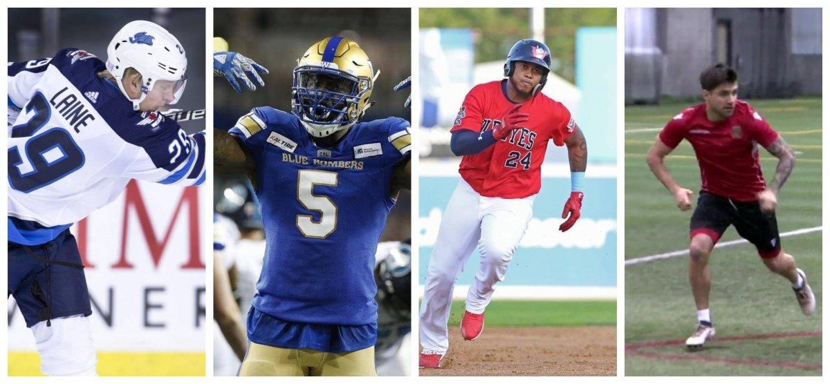 Winnipeg's four professional sports teams. The Jets, Blue Bombers, Goldeyes, andf Valour FC. Photo Credits:  The Canadian Press / Winnipeg Goldeyes / Global News.