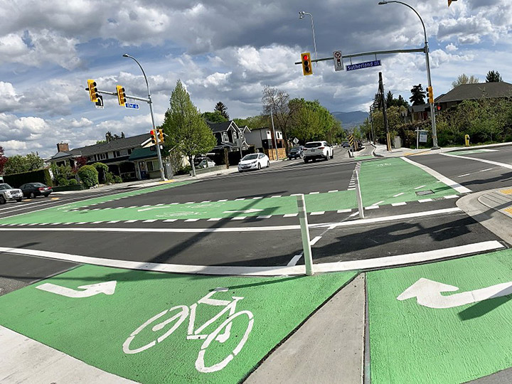 The intersection at Ethel Street and Sutherland Avenue in Kelowna now features a variety of upgrades, including bike lanes and improved lighting.
