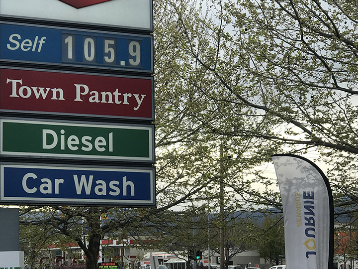 As of noon on Thursday, the average gas price in the Okanagan was roughly on par with Vancouver despite higher fuel taxes there.