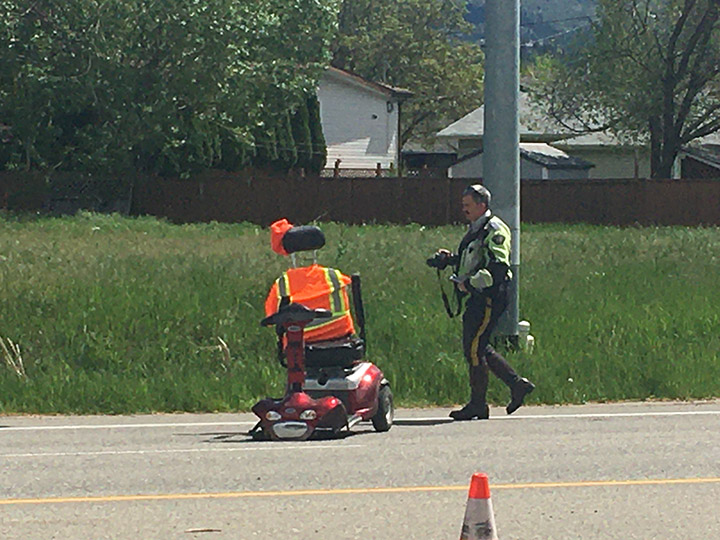 Kelowna RCMP say the man riding the scooter, believed to be in his 70s, was rushed to hospital with serious injuries.