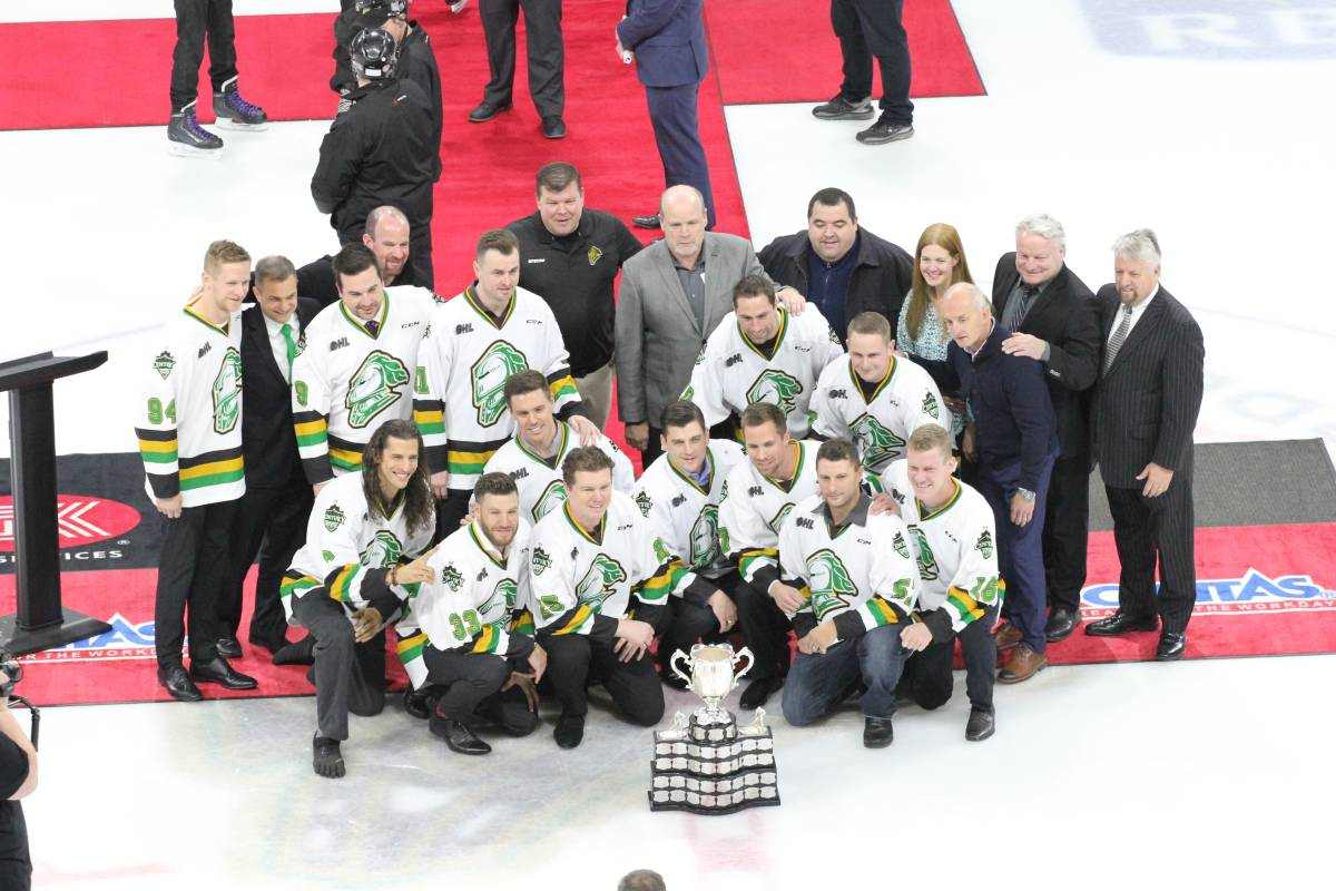 Members of the 2004-05 London Knights got together to relive some memories of their run to the 2005 Memorial Cup championship when they were named Team of the Century in 2018.