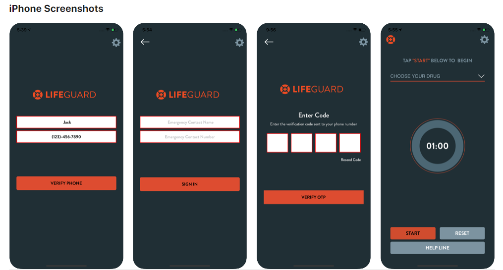 Lifeguard App is enabled by the registered user before consuming opioids. After 50 seconds, the app will sound an alarm, which will go louder unless the person presses the stop button. After 75 seconds, if the user is still unable to deactivate the alarm, a text-to-voice call will go direct to 9-1-1.