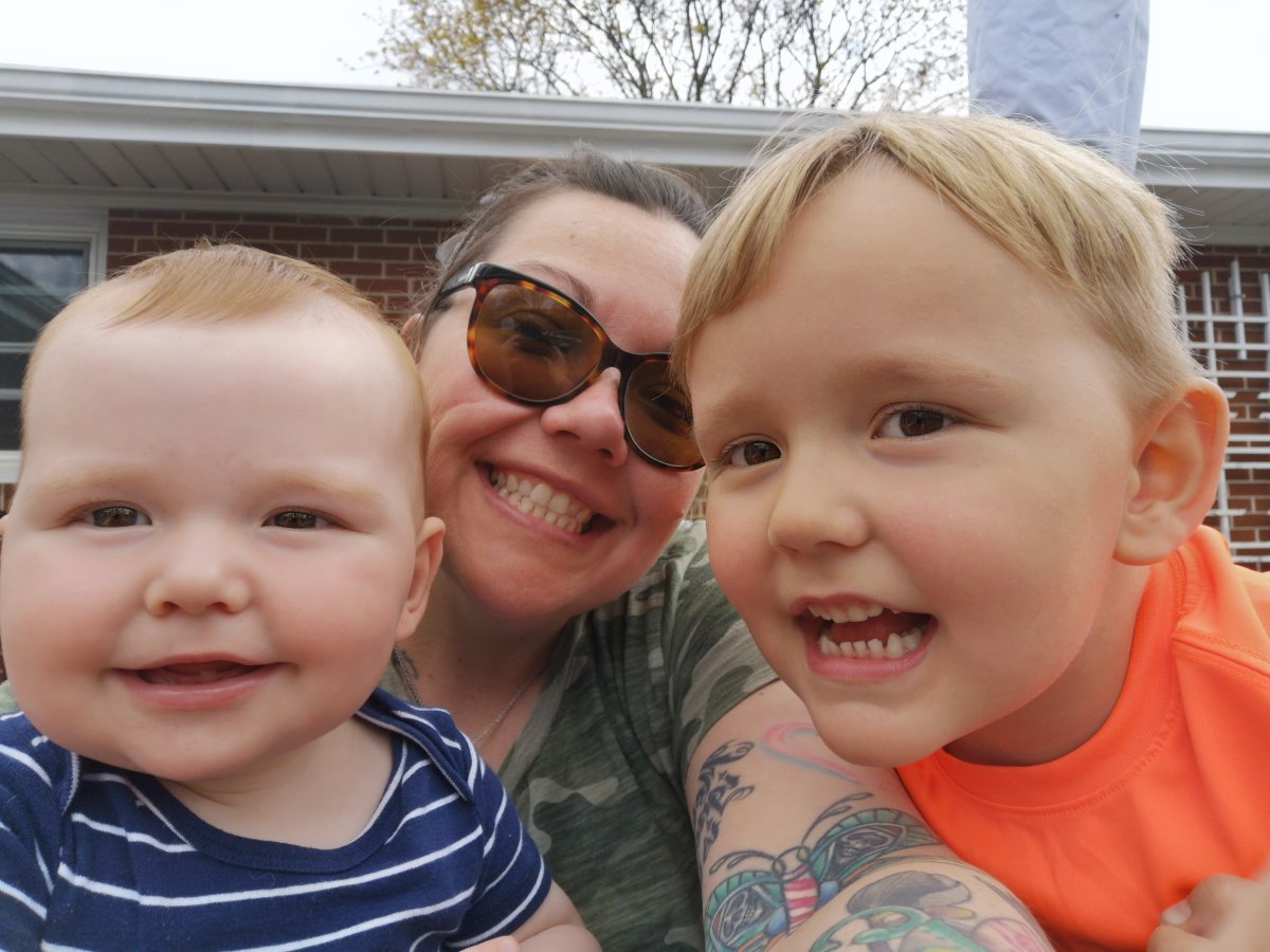 Lisa Burke with sons Hutton and Marshall.