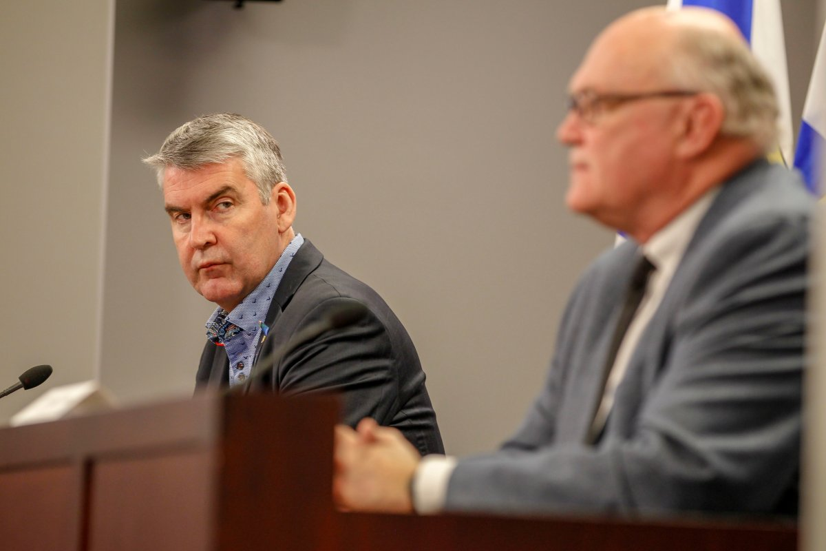 Premier Stephen McNeil and chief medical officer of health Dr. Robert Strang speak at a press briefing in Halifax on Tuesday, May 12, 2020.