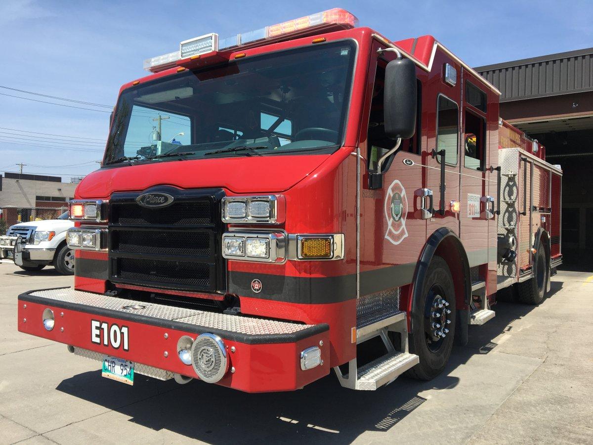 One of four new Winnipeg fire trucks leased in late 2019 is parked outside Station 1 on Ellen Street.