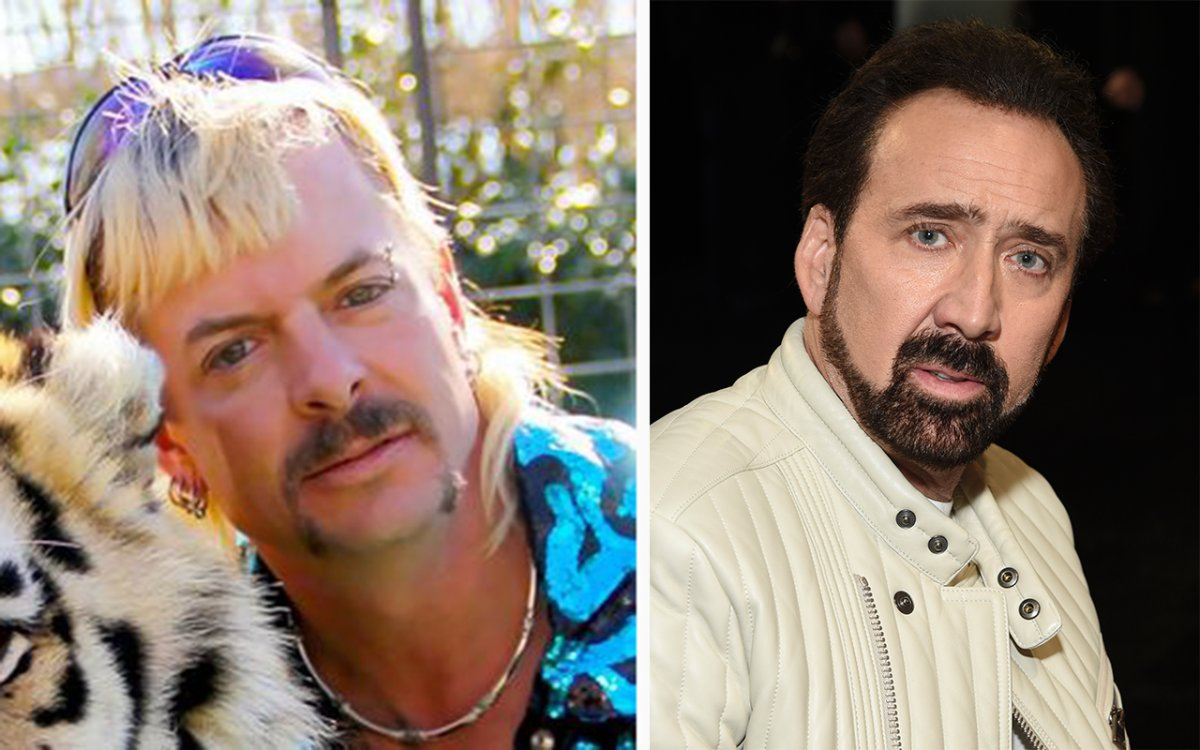 (L-R): Joe Exotic of 'Tiger King' and Nicolas Cage.