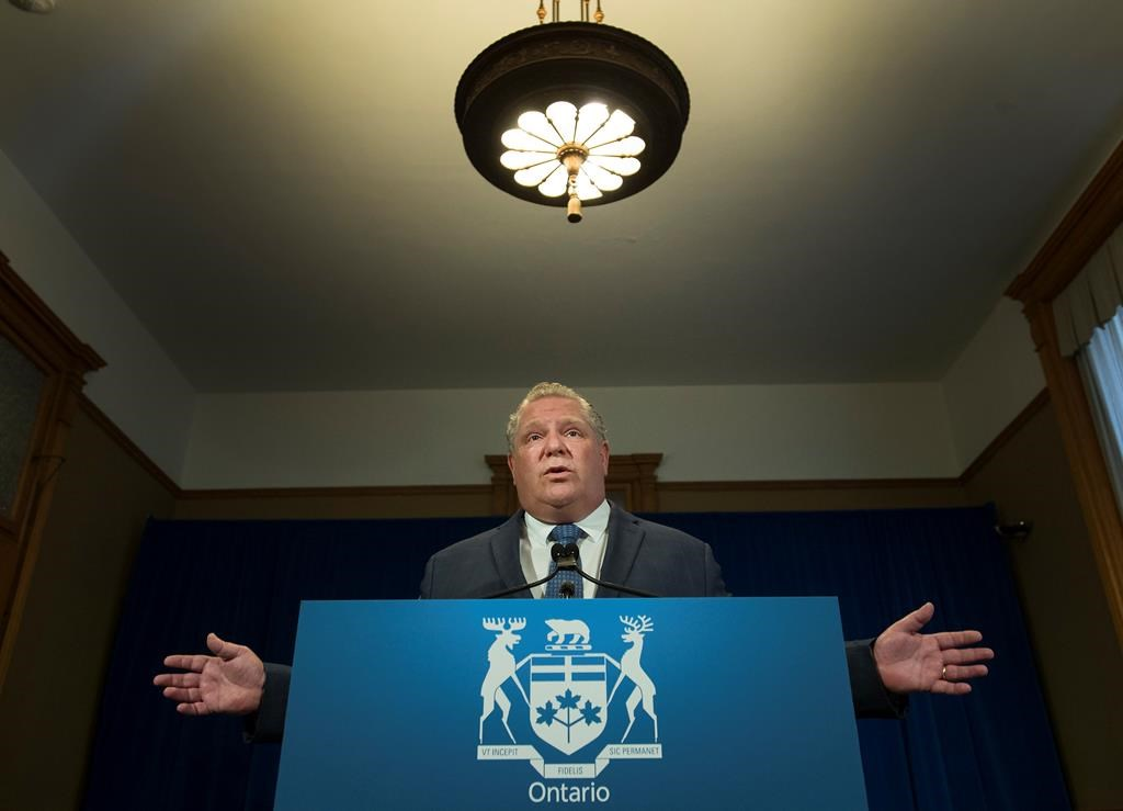 Ontario Premier Doug Ford speaks during his daily updates regarding COVID-19 at Queen's Park in Toronto on Monday, May 25, 2020.