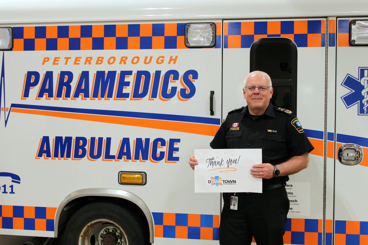 Peterborough County-City Paramedics Chief Randy Mellow thanks downtown restaurants for their support of food delivery during the coronavirus pandemic.