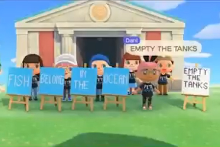 Player characters stage a protest outside the museum in Nintendo's 'Animal Crossing: New Horizons' video game.