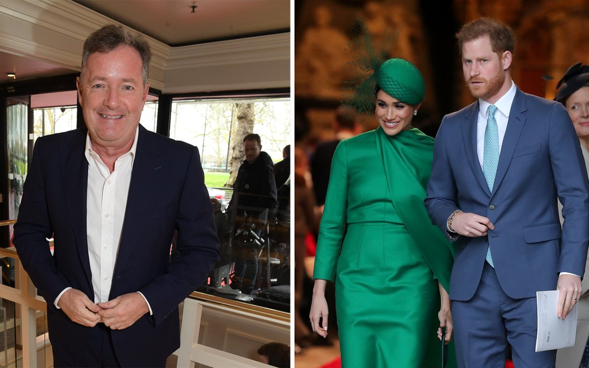 (L-R): Piers Morgan, Meghan Markle and Prince Harry.