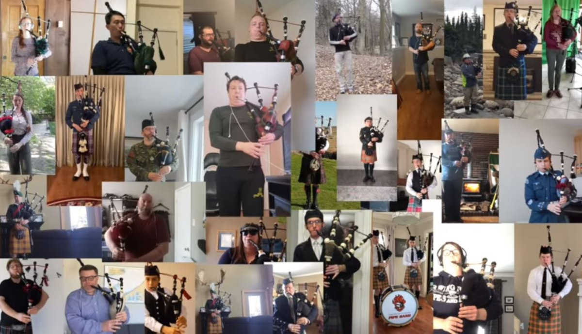 Pipers came together for a performance of 'Amazing Grace' in support of Nova Scotians.