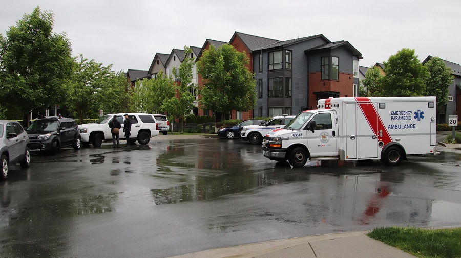 Police and paramedics attend a townhouse complex in Port Coquitlam where an infant was found abandoned on Saturday.
