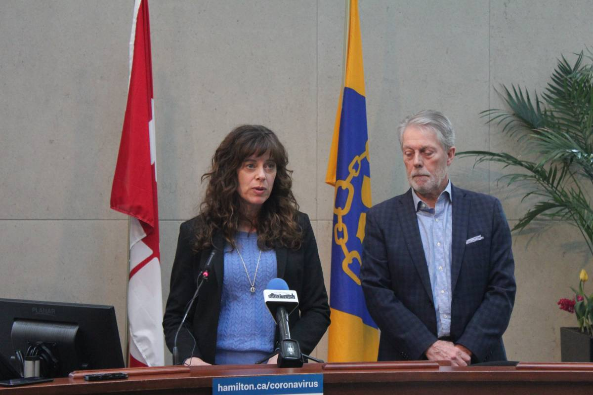 Hamilton's medical officer of health, Dr. Elizabeth Richardson, during a COVID-19 update at city hall on March 13, 2020.