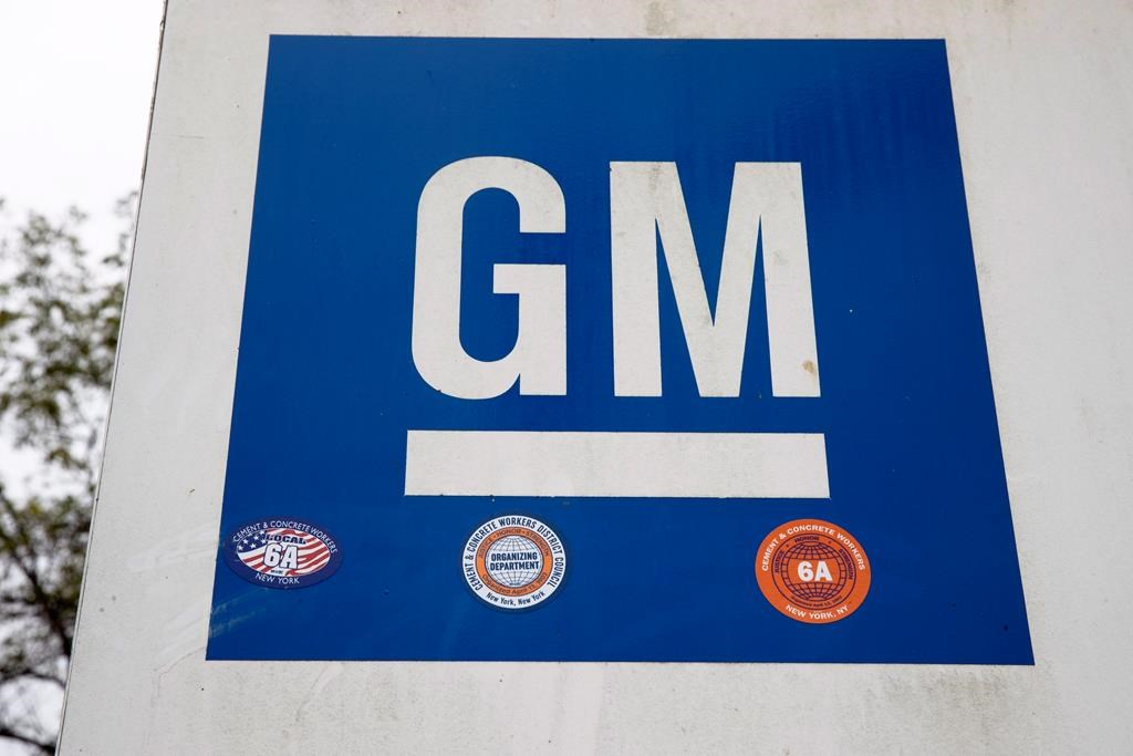This Oct. 16, 2019, file photo shows a sign at a General Motors facility.