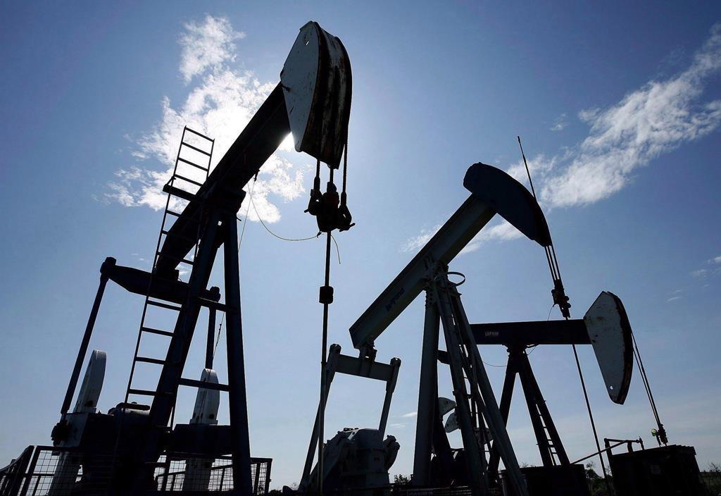 Pumpjacks pump crude oil near Halkirk, Alta., on June 20, 2007.