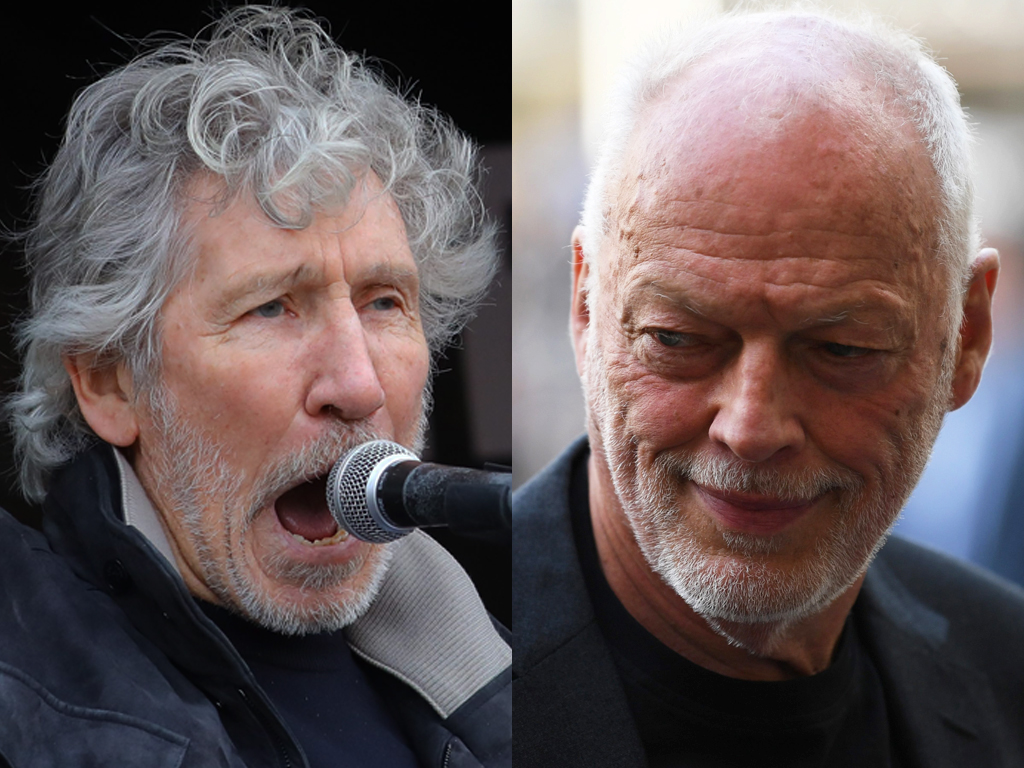 (L-R) Former Pink Floyd bandmates Roger Waters and David Gilmour.